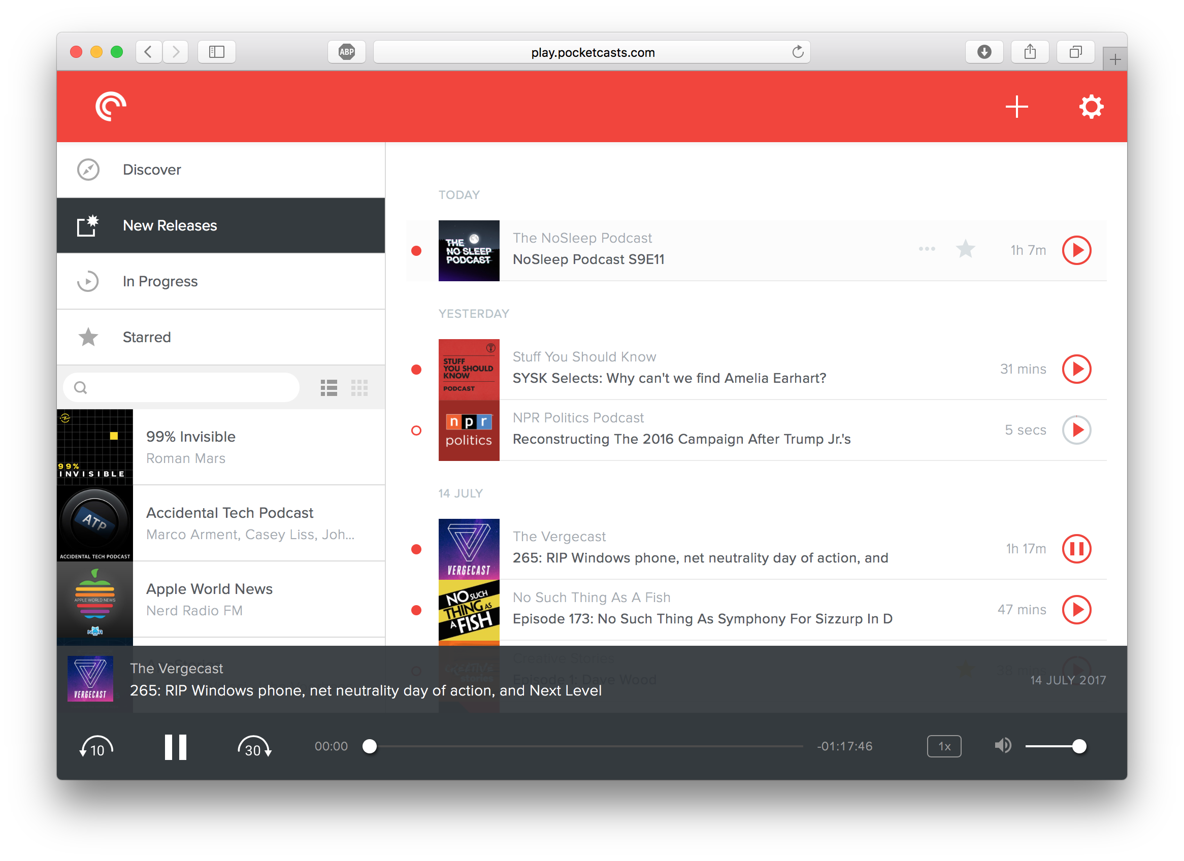 Pocket Casts Web UI