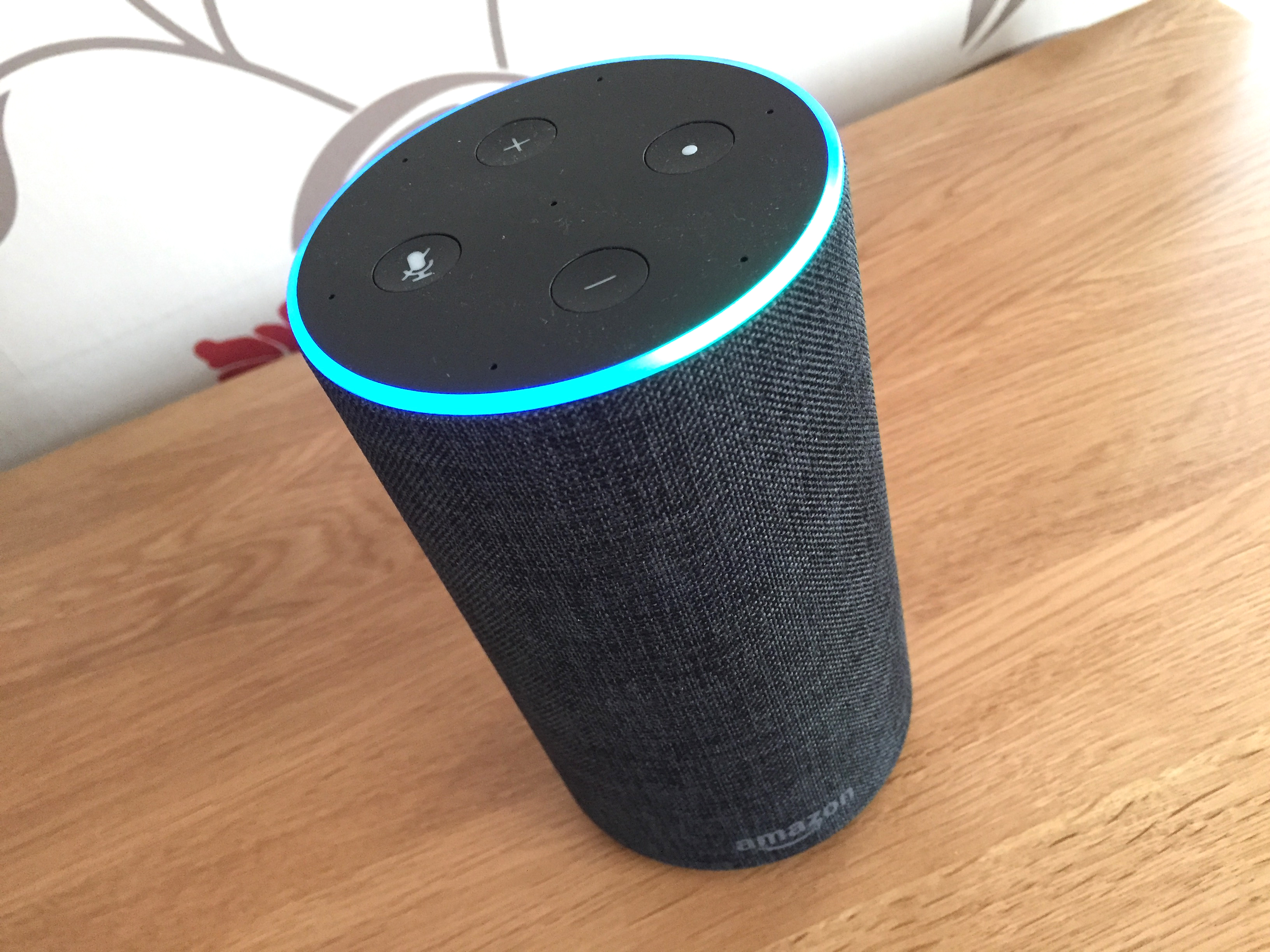 A picture of an Amazon Echo