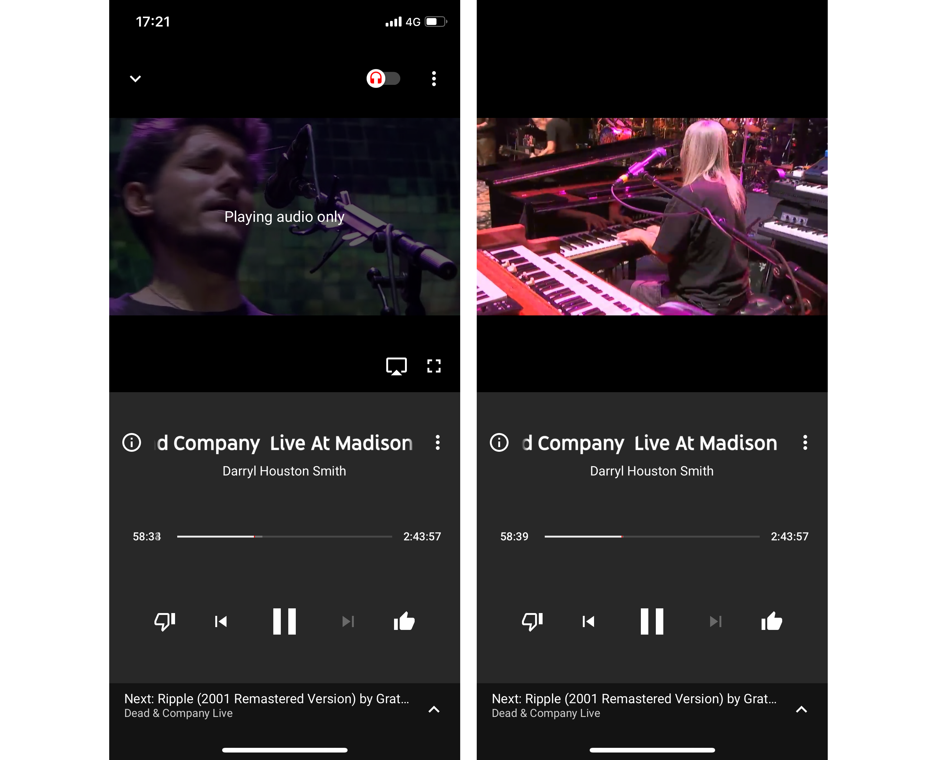 YouTube Music Audio only mode